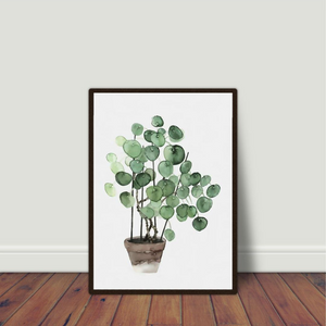 Watercolour Pilea Plant Art