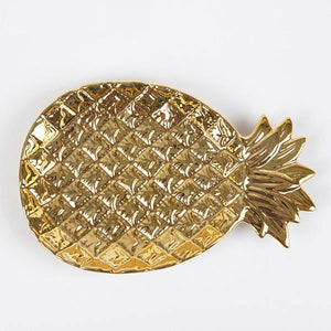 Golden Pineapple and Leaf Jewellery Tray