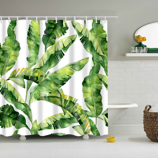 Painted Banana Leaves Shower Curtain - Modern Urban Jungle