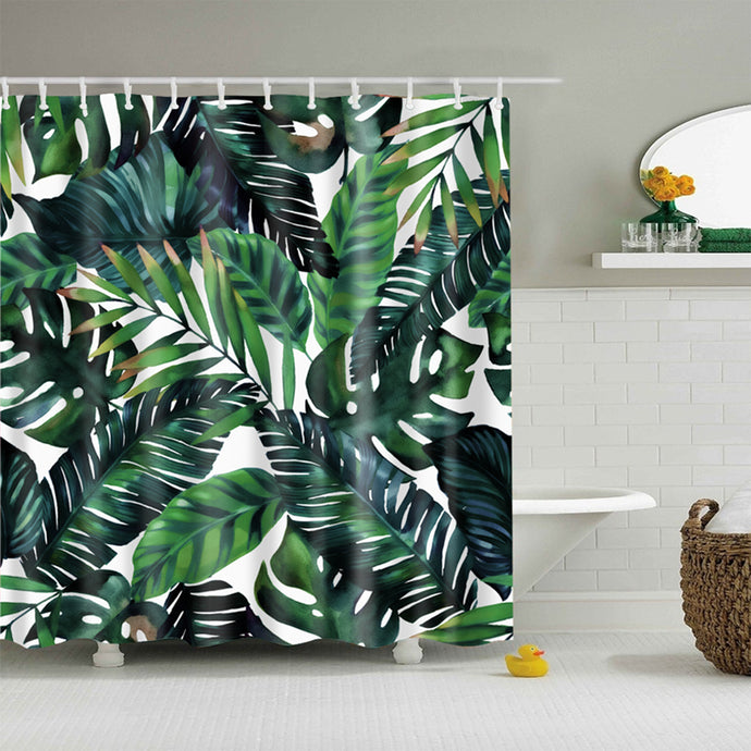 Monstera Mixed Leaves Shower Curtain - Modern Urban Jungle