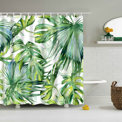 Large Tropical Leaves Shower Curtain - Modern Urban Jungle