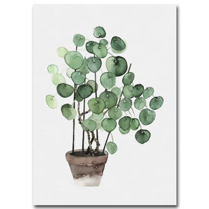 Watercolour Pilea Plant Art - Modern Urban Jungle
