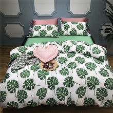 Load image into Gallery viewer, Monstera Premium Egyptian Cotton Bedding Set - Modern Urban Jungle
