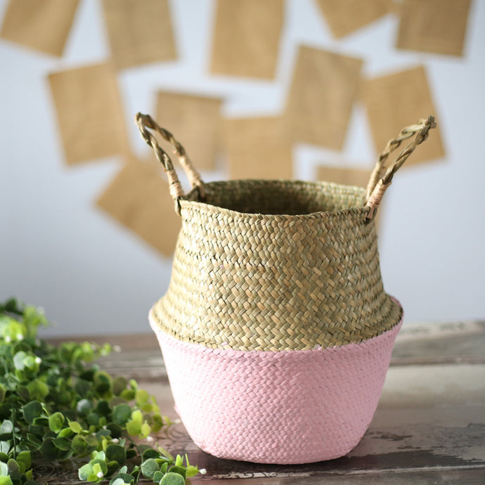 Dipped Woven Basket Plant Holder Light Pink - Modern Urban Jungle