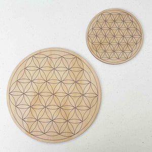 Flower of Life Crystal Grid - Wood