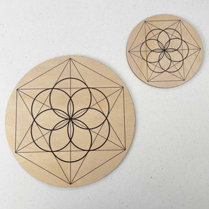 Seed of Life Crystal Grid - Wood