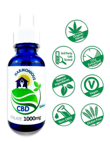 Hemp CBD Oil Pure Isolate (0% THC) 1000mg (Unflavored)