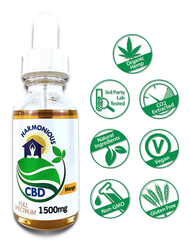 Hemp CBD Oil Full Spectrum/Flower Extract 1500mg (Mango Flavor)