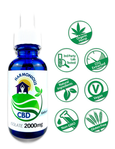 Hemp CBD Oil Pure Isolate (0% THC) 2000mg (Unflavored)