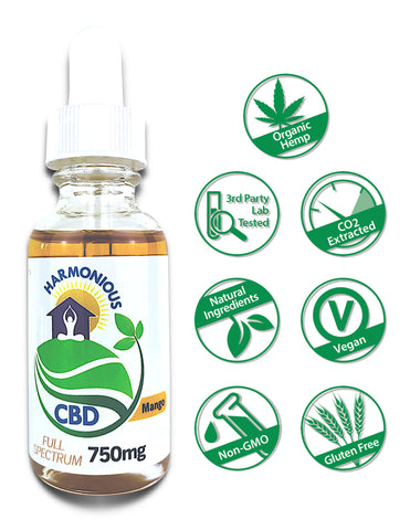 Hemp CBD Oil Full Spectrum/Flower Extract 750mg (Mango Flavor)