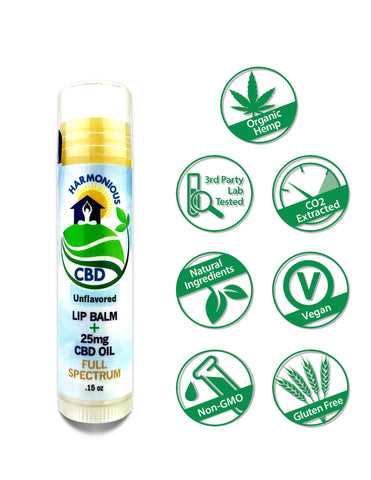 Hemp CBD Oil Full Spectrum/Flower Extract 25mg Lip Balm