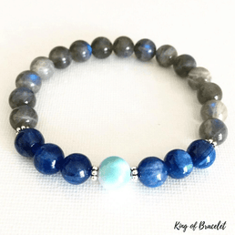 Bracelet en Labradorite, Kyanite et Aigue Marine - King of Bracelet