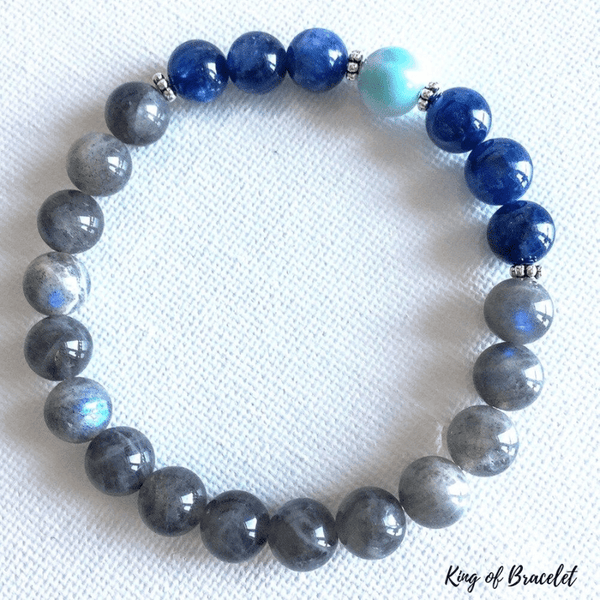 Bracelet Labradorite, Kyanite et Aigue Marine - King of Bracelet