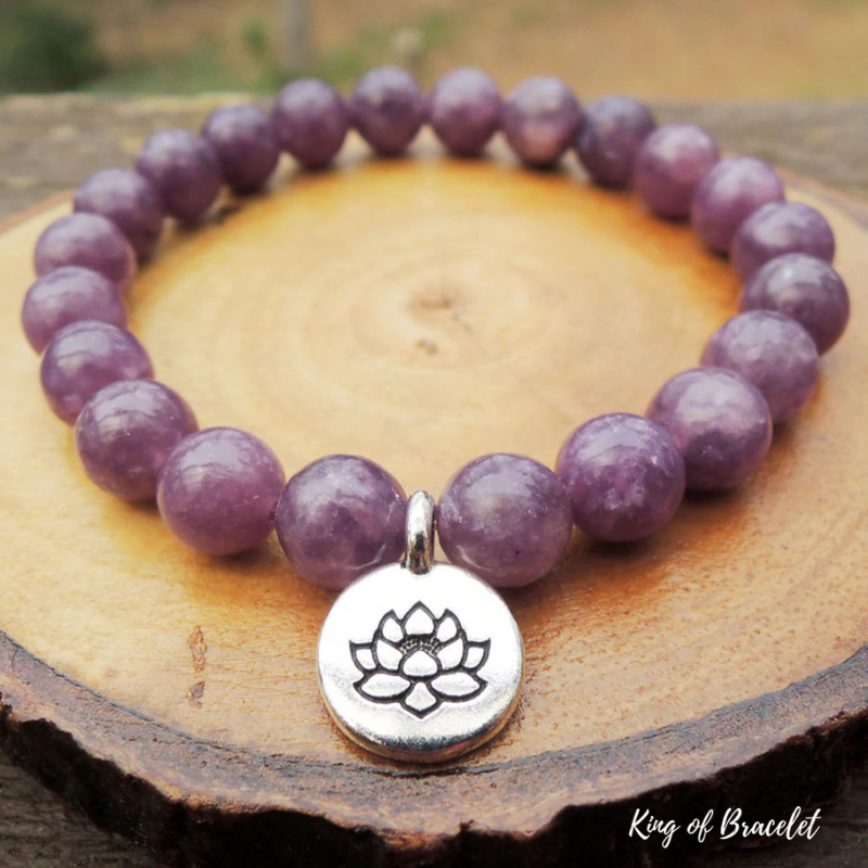 Bracelet Lotus en Lépidolite - King of Bracelet