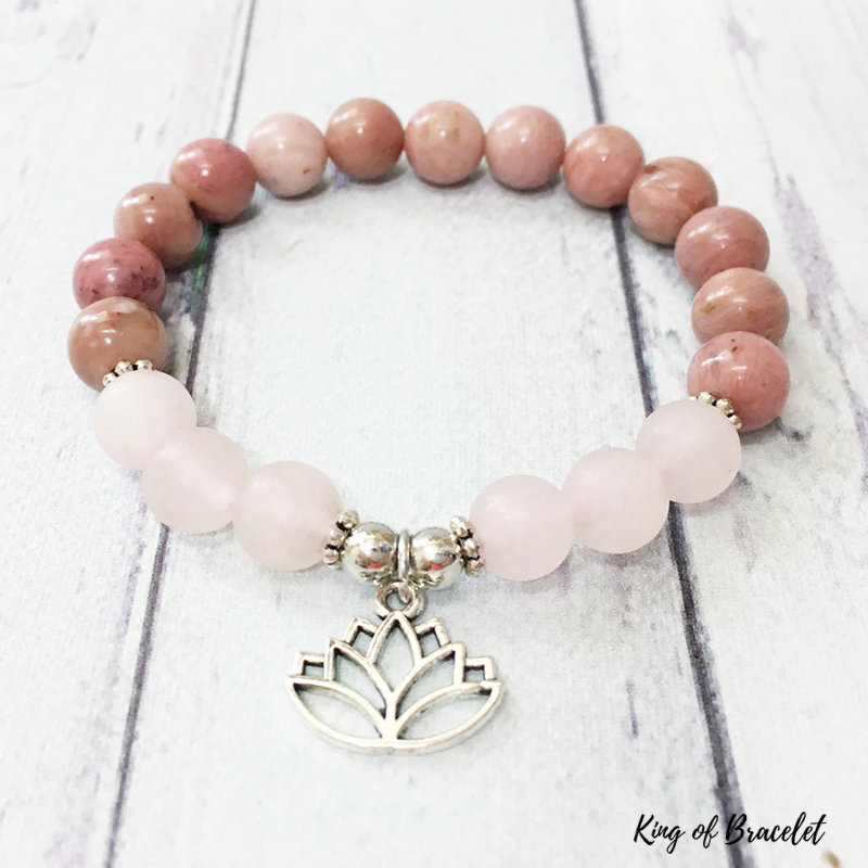 Bracelet Lotus en Rhodonite et Quartz Rose - King of Bracelet