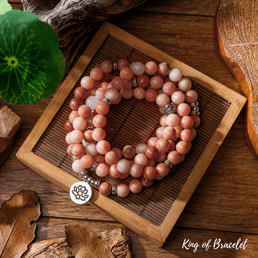 Bracelet Mala Lotus en Aventurine Rose - King of Bracelet