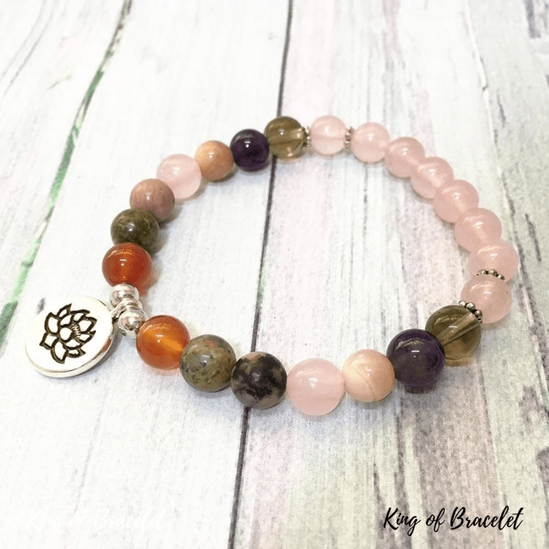 Bracelet Mala 7 Chakras en Quartz Rose - King of Bracelet