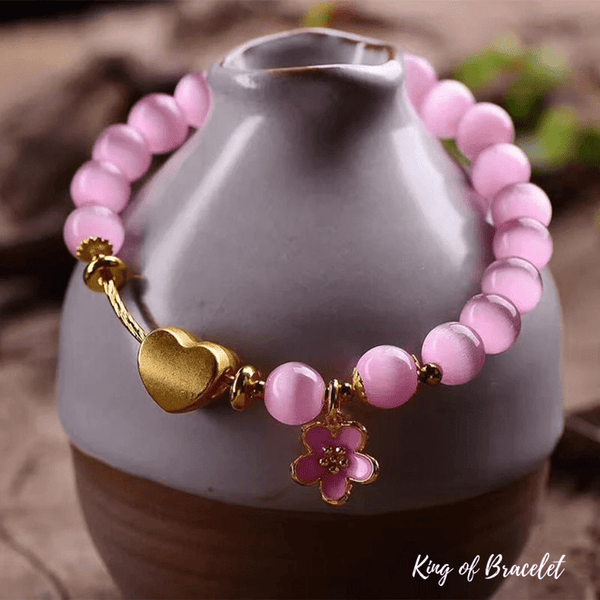 Bracelet Coeur en Oeil de Chat Rose - King of Bracelet