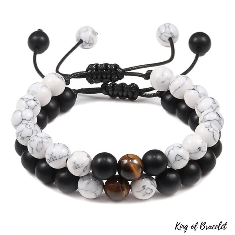 Bracelet Distance Ajustable - Noir, Blanc et Marron - King of Bracelet