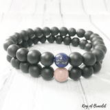 Bracelet Distance Couple en Onyx Noir Mat - King of Bracelet