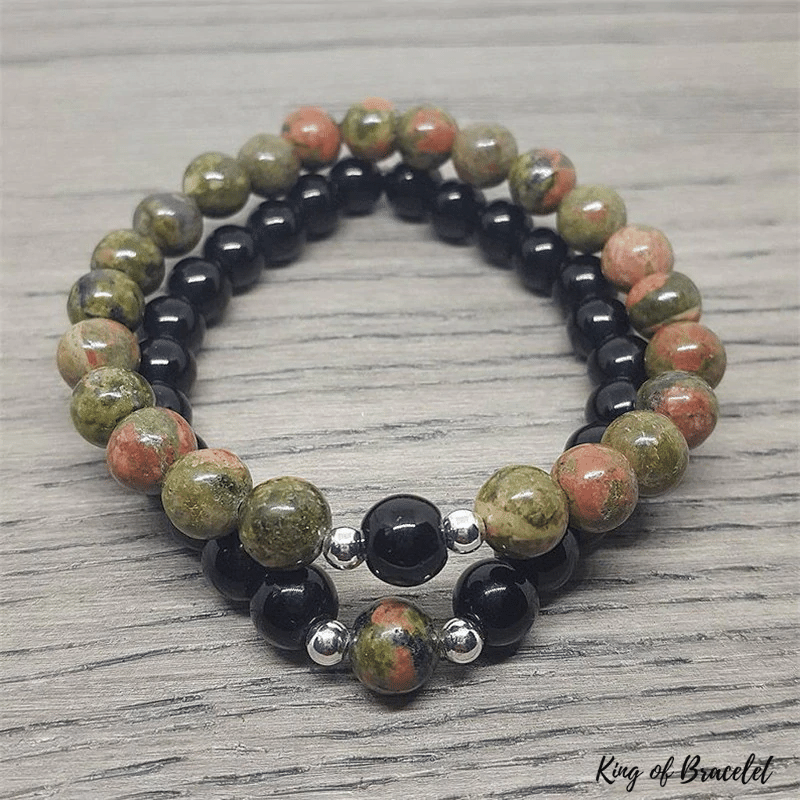 Bracelet Couple en Onyx Noir et Unakite - King of Bracelet