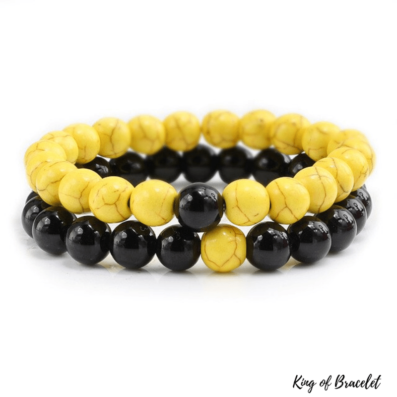 Bracelet Distance Couple - Jaune et Noir - King of Bracelet