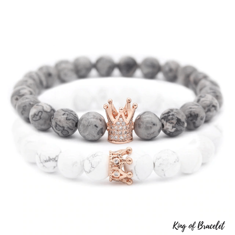 Bracelet Distance Couronne - Gris et Blanc - King of Bracelet