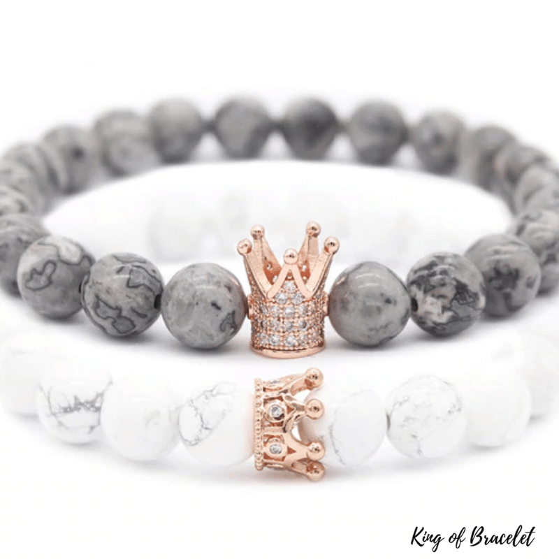 Bracelets Distance Couronne - Gris et Blanc - King of Bracelet