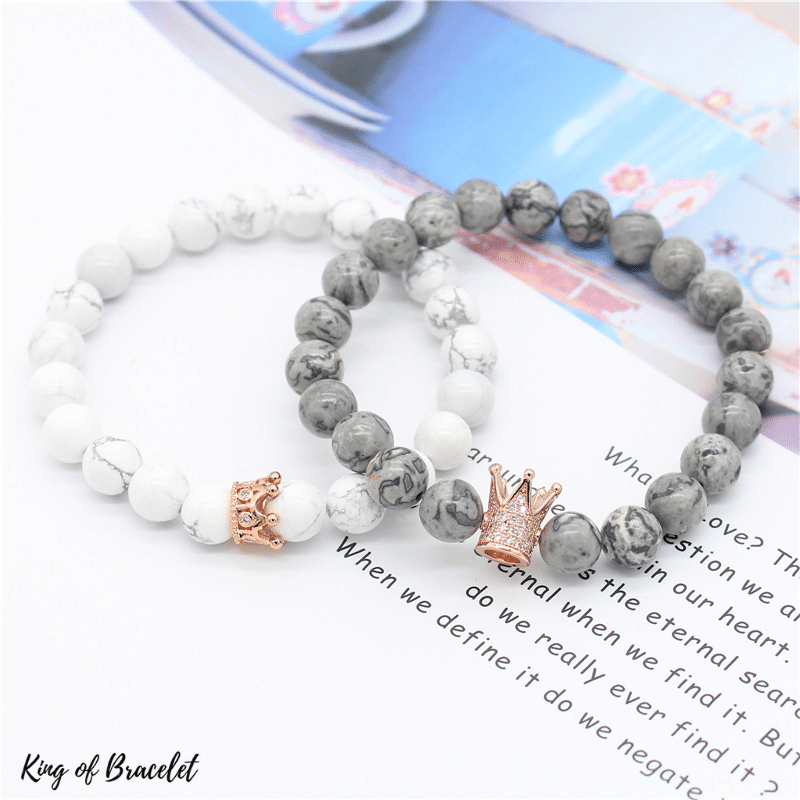 Bracelet Couronne - Gris et Blanc - King of Bracelet