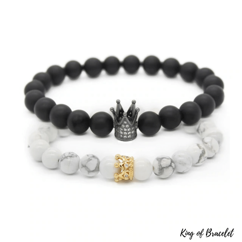 Bracelet Distance Couronne - Noir et Blanc - King of Bracelet