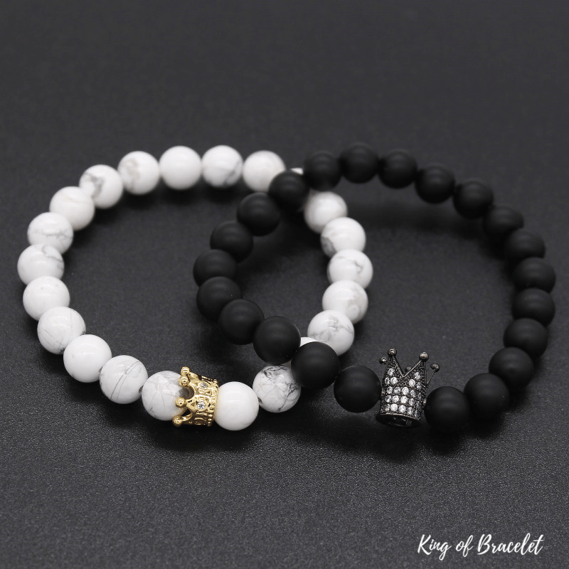 Bracelets Distance Couronne - Noir et Blanc - King of Bracelet