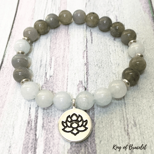 Bracelet Lotus en Labradorite et Aigue Marine - King of Bracelet