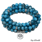 Mala 108 Perles en Apatite Bleue - King of Bracelet