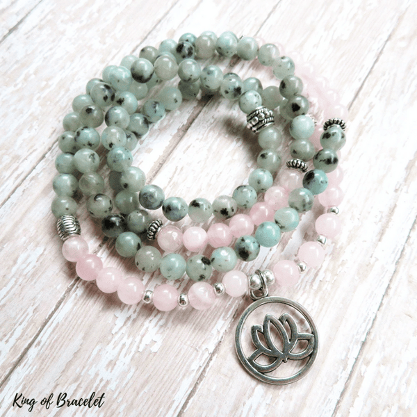 Bracelet Mala en Jaspe Kiwi et Quartz Rose - King of Bracelet
