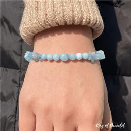 Bracelet Mix en Perles Aigue Marine - King of Bracelet
