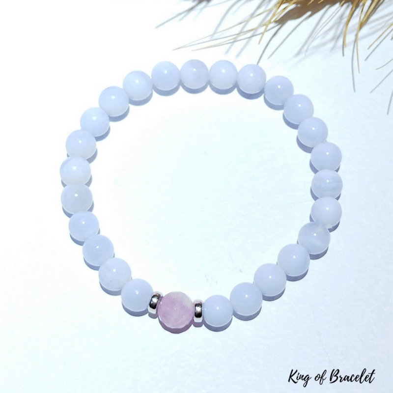 Bracelet Calcédoine Bleue et Kunzite - King of Bracelet