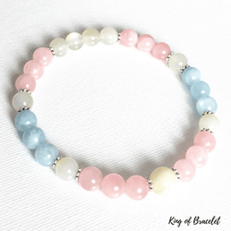 Bracelet Aigue Marine, Quartz Rose et Pierre de Lune