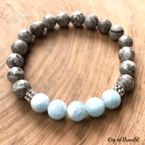Bracelet Aigue Marine et Jaspe Gris - King of Bracelet