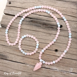 Mala en Aigue Marine et Quartz Rose - King of Bracelet