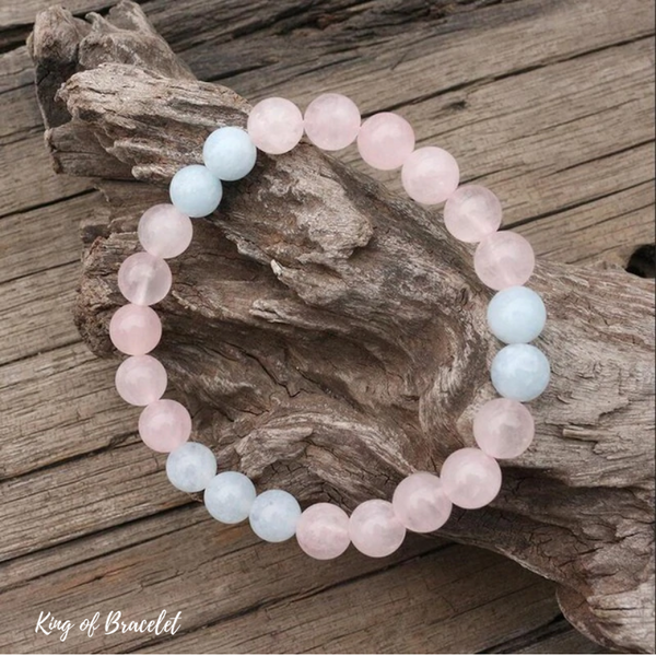 Bracelet en Aigue Marine et Quartz Rose - King of Bracelet