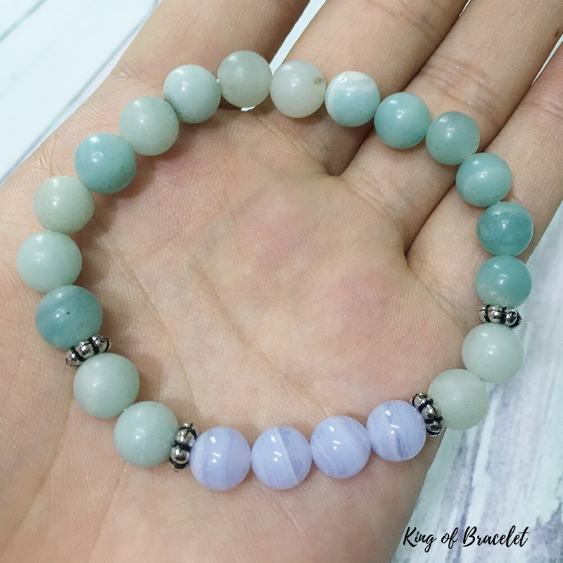 Bracelet en Amazonite et Agate Dentelle Bleue - King of Bracelet