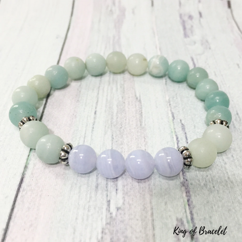 Bracelet en Amazonite et Agate Blue Lace - King of Bracelet
