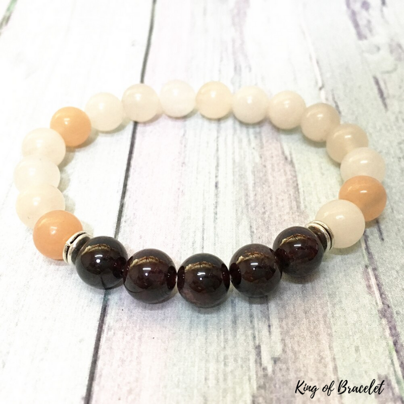 Bracelet en Aventurine Orange et Grenat - King of Bracelet