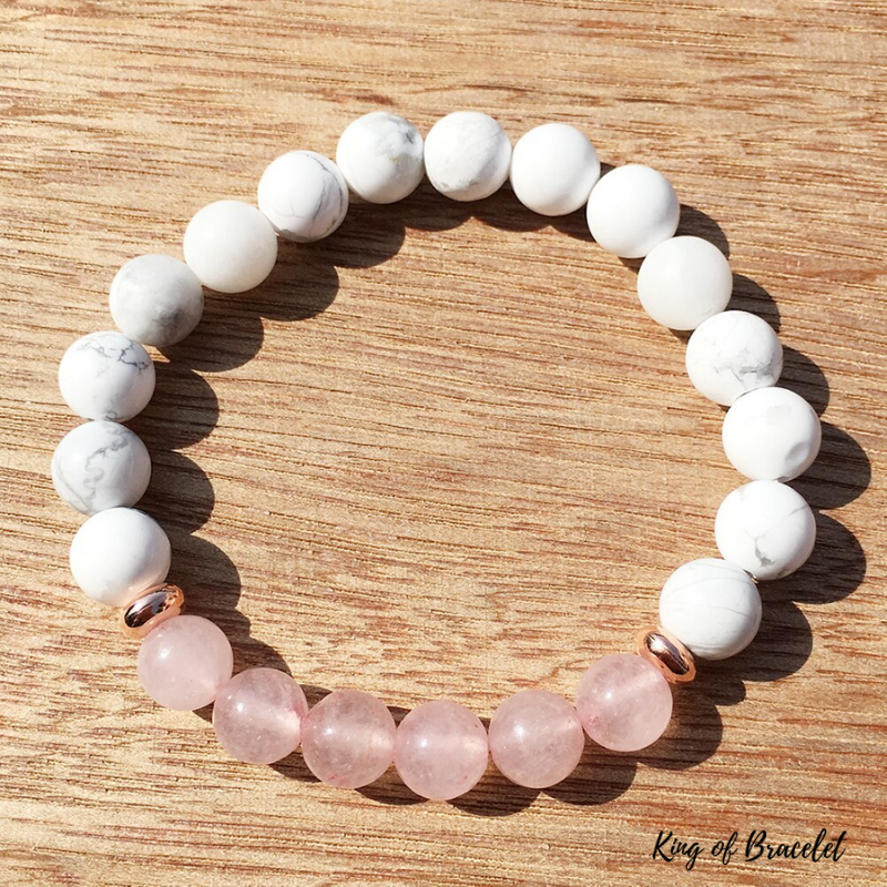 Bracelet en Howlite et Quartz Rose - King of Bracelet