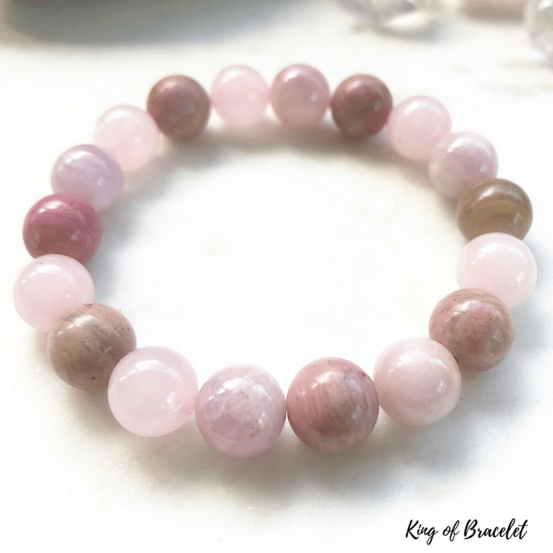 Bracelet Amour en Kunzite, Rhodonite et Quartz Rose - King of Bracelet