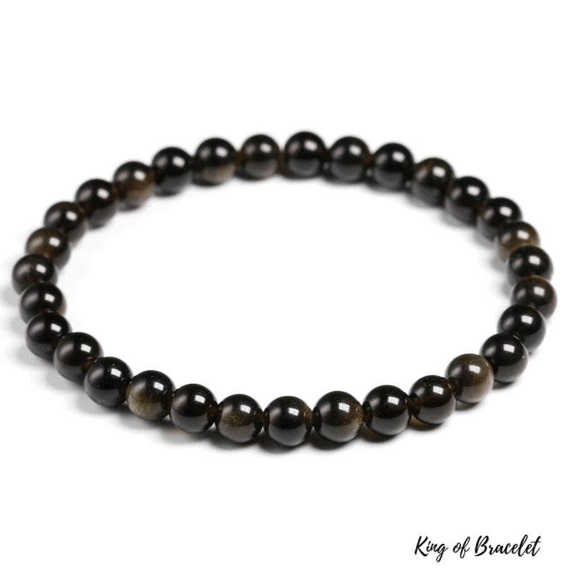 Bracelet en Obsidienne Dorée | Perles 6MM | King of Bracelet