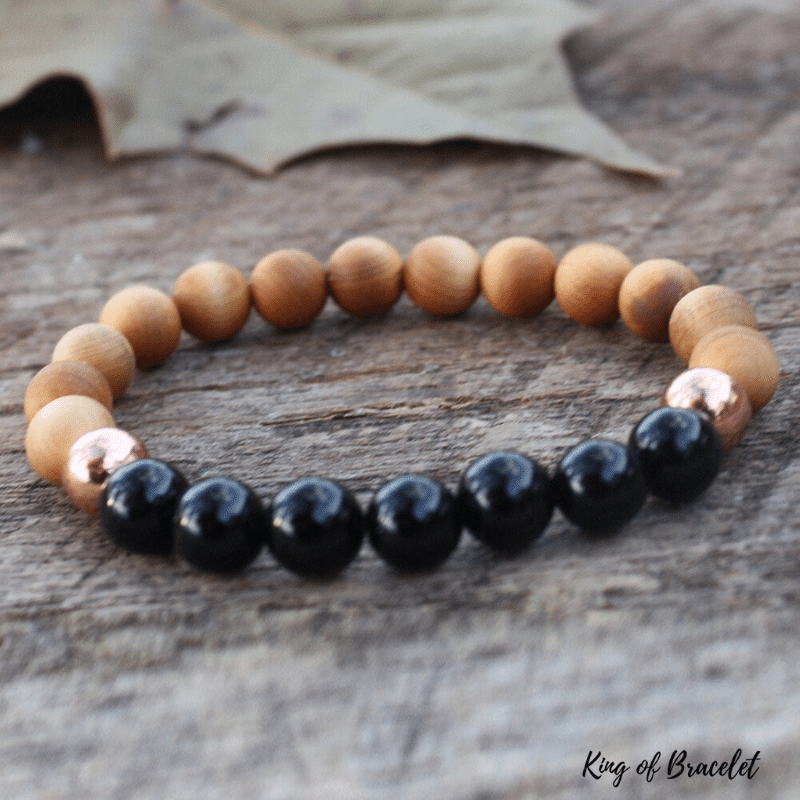 Bracelet en Obsidienne et Bois de Santal - King of Bracelet
