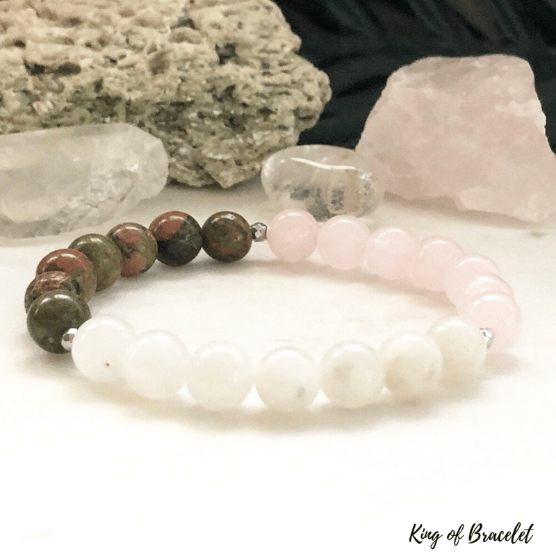 Bracelet en Pierre de Lune, Quartz Rose et Unakite - King of Bracelet