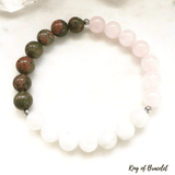 Bracelet Fertilité en Pierre de Lune, Quartz Rose et Unakite - King of Bracelet