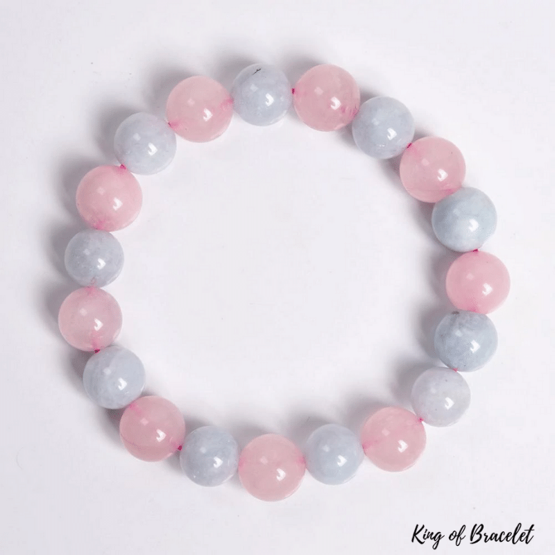 Bracelet en Quartz Rose et Aigue Marine